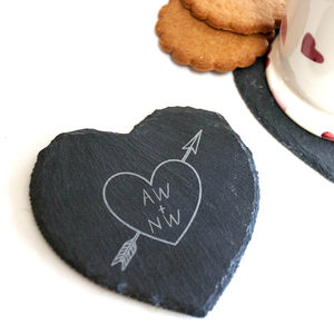 Heart And Arrow Slate Coaster