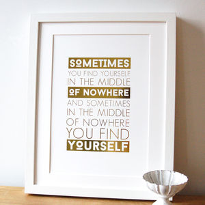 Middle Of Nowhere Gold Foil Print - refresh your walls