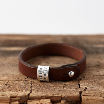 Personalised Silver And Leather Bracelet