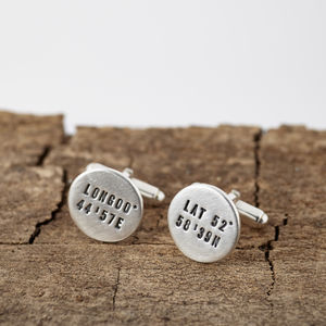 Personalised Round Silver Location Cufflinks
