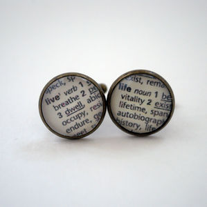 'Live Life' Vintage Dictionary Text Cufflinks