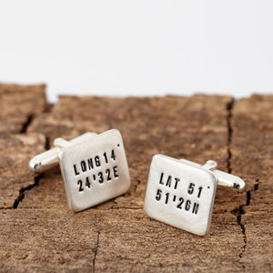 Personalised Silver Location Cufflinks - personalised jewelry