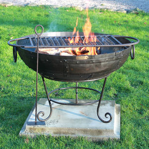 Indian Fire Bowl With Rack And Ash Rake