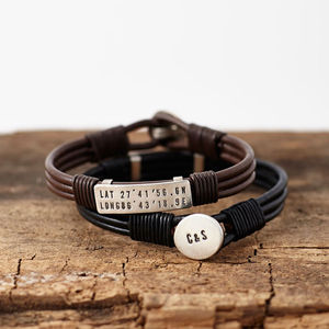 Personalised Silver Location Bracelet - men's jewellery
