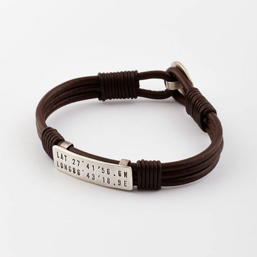coordinates mens bracelet longitude latitude black chunky products charm customised mamba leather grid