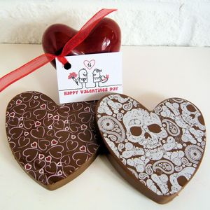 Chocolate Hearts With Hearts And Skulls - chocolates & confectionery