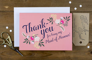 Maid Of Honour Thank You Card - wedding stationery