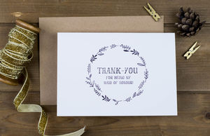 Maid Of Honour Hand Drawn Thank You Card - rustic wedding