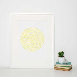 Reduced Yellow Circle Pattern Modern Art Print - graphic art prints