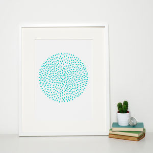 Reduced Modern Turquoise Circle Print - soft colour pop prints