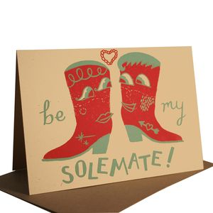 Be My Solemate Hand Printed Card