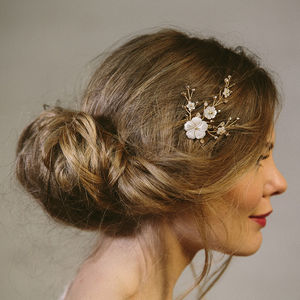 Imogen Simple Pearl And Crystal Flower Wedding Comb