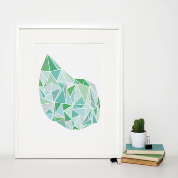 Green Geometric Modern Art Print