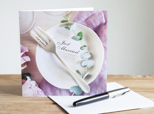 Personalised Fork Wedding Cutlery Card - congratulations cards