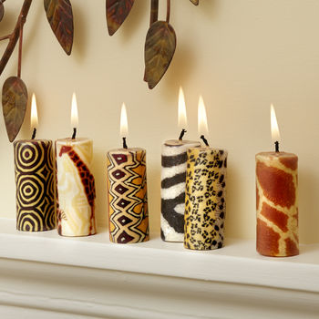 African Mini Candles Set Of Six