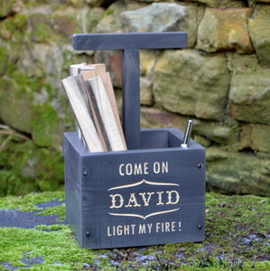 Fun Engraved Personalised Kindling Box - fireplace accessories