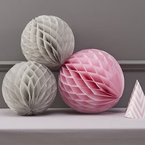 Honeycomb Balls Grey And Pink Hanging Party Decorations - bunting & garlands