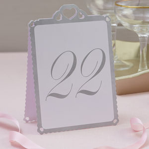 Heart Wedding Table Numbers White And Silver 13 To 24