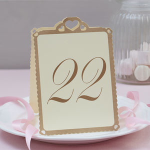 Heart Wedding Table Numbers Ivory And Gold 13 To 24 - table decorations