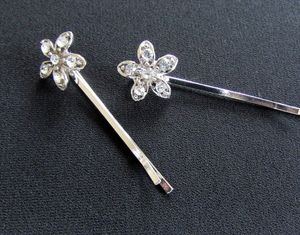 Pair Of Crystal Flower Hair Clips - hats, hairpieces & hair clips