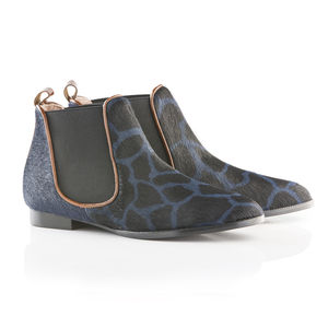 Flat Chelsea Boot In Giraffe Cow Fur - women's fashion
