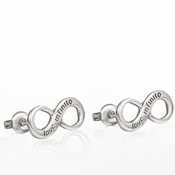 Engraved Sterling Silver Infinity Stud Earrings