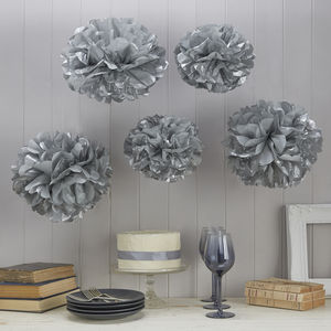 Pack Of Five Silver Tissue Paper Pom Poms - outdoor decorations