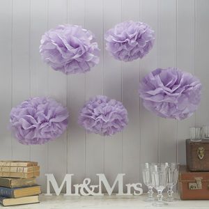 Pack Of Five Lilac Tissue Paper Pom Poms - outdoor decorations