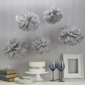 Pack Of Five Grey Tissue Paper Pom Poms - outdoor decorations