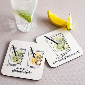 Are You Ginterested Gin And Tonic Coaster - placemats & coasters
