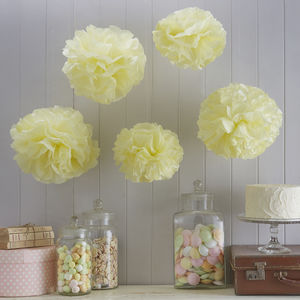 Pack Of Five Paper Pom Poms - outdoor decorations