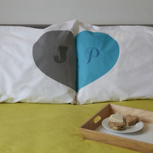 Romantic Personalised Heart Union Pillowcases - personalised wedding gifts