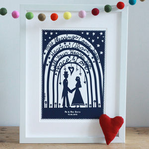 Personalised Wedding Papercut Or Art Print