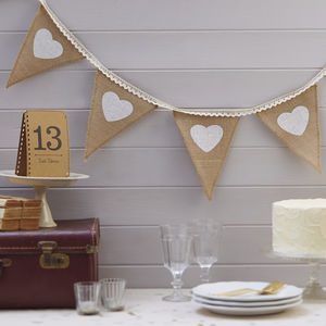 Vintage Style Hessian And Lace Bunting - wedding day finishing touches