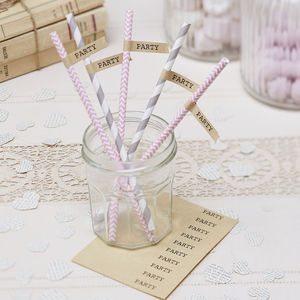 Vintage Party Brown Kraft Straw Flags