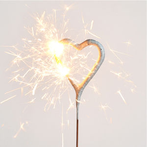 Gold Heart Sparkler - cake decorations & toppers