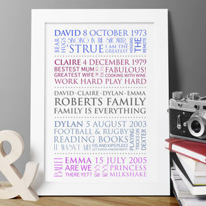 Personalised Family Interests Print - posters & prints for children