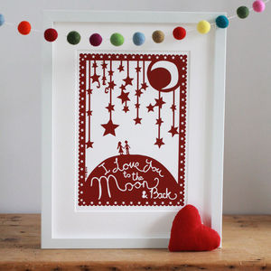 Valentine's 'Love You To The Moon' Papercut Or Print