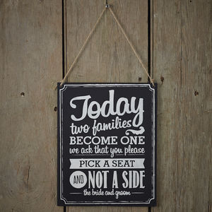 Vintage Style Chalkboard Two Sides Wedding Sign