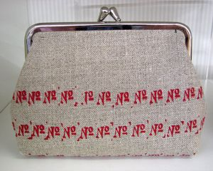 Hand Printed Red No No's Linen Purse