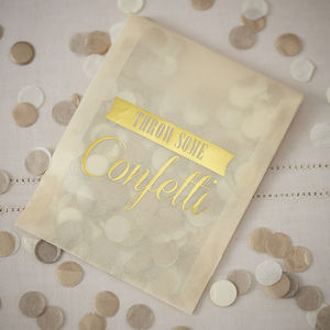 Vintage Style Gold Confetti Envelopes - rustic wedding