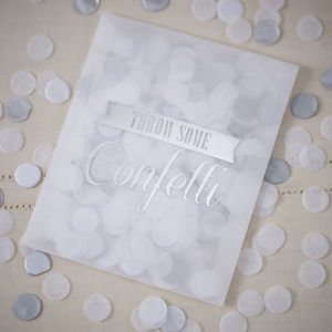 Vintage Style Silver Confetti Envelopes - table decorations