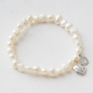 Louella Pearl And Heart Personalised Bracelet - bracelets & bangles
