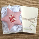 personalised fabric star with initial, pink gift boxed