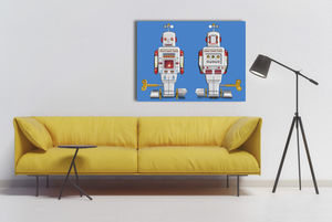 Pop Art Silver Sparking Robot Canvas Print - modern & abstract