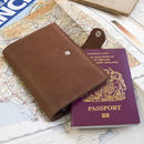 Deluxe cognac leather passport wallet by John Todd