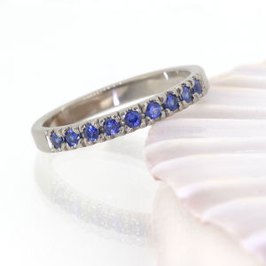 Blue Sapphire Half Eternity Ring, Gold Or Platinum - women's jewellery
