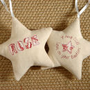personalised christening star, cream front and back