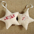 personalised star for new baby girl, cream front and back