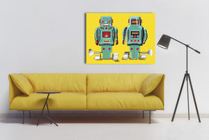 Pop Art Green Sparking Robot Canvas Print - modern & abstract